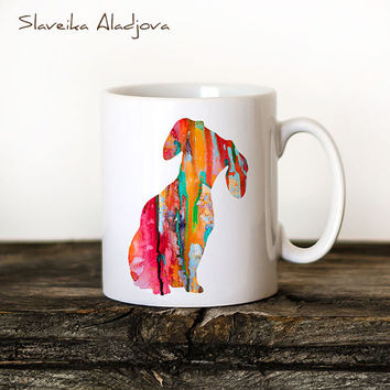 Dachshund Mug Watercolor Ceramic Mug Unique Gift Bird Coffee Mug Animal Mug Tea Cup Art Illustration Cool Kitchen Art Printed mug dog