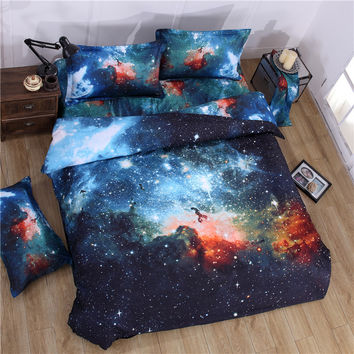 Nebala Outer Space Star Galaxy Bedding Set Polyester Cotton Duvet Cover Flat Sheet Pillowcase Queen Twin Size
