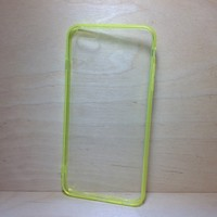 For Apple iPhone 6 Plus (5.5 inches) Yellow Silicone Bumper and Clear Hard Acrylic Case