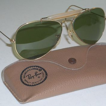1970's 58mm VINTAGE B&L RAY BAN USA RB3 TRUGREEN OUTDOORSMAN AVIATORs SUNGLASSES
