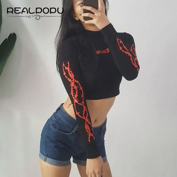 Realpopu Printing Long Sleeve Cropped Basic T-shirt Red and Black T Shirt Women Cotton Turtleneck Sexy Crop Top Tee Skinny 2017