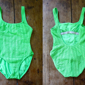 80s Neon GREEN Swimsuit Crochet One Piece Bathing Suit Cut Out 1980s Woven Swim Suit Womens Retro Mesh Summer Swimming Suit Medium Large