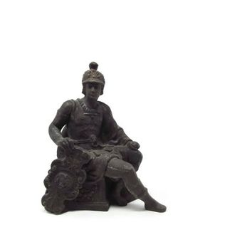 Spelter Roman Soldier Cast Metal Statue, Antique Art Nouveau Statue Bronzed Clock Base Figure