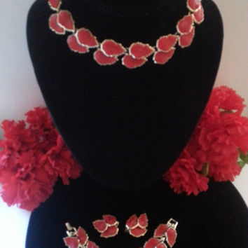 Red Lucite Parure, Vintage Demi Jewelry Set, Lisner Style, 1950's Necklace, Bracelet & Earring Set, Excellent to Mint Condition