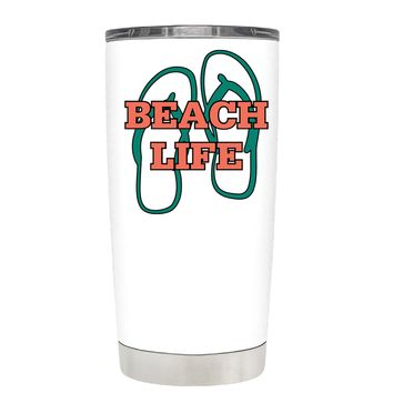 The Beach Life Sandals on White 20 oz Tumbler Cup