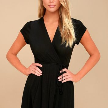 Good to Go Black Short Sleeve Surplice Dress