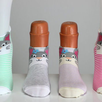 Colorful Kitty Socks with Ear Cat Sock Kitten Socks Striped Sock Girls Socks Women Socks Funny Socks Ankle Socks Animal Socks Cute Fun Socks