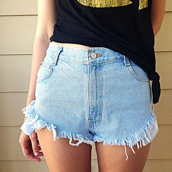Vintage shredded High Waisted Cut Off Jean Shorts