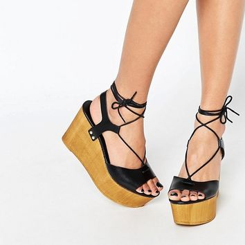 New Look Tie Up Platform Wedge Sandal at asos.com