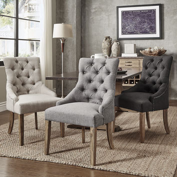 Benchwright Button Tufts Wingback Hostess Chairs by SIGNAL HILLS (Set of 2)