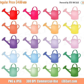 50% OFF SALE Watering Can Clipart, Gardening Clip art, Water Cans, Gardening Icons, Spring, digital planner stickers, PNG, Commercial