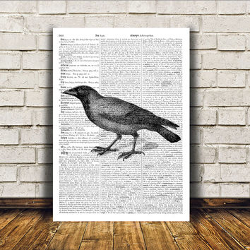 Bird art Modern decor Raven poster Dictionary print RTA141