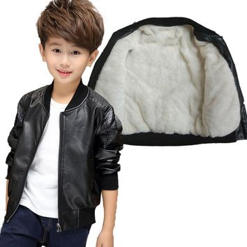 Trendy GCWHFL Children PU Leather Jackets Boys Winter Thick Warm Leather Coat Spring Autumn Boy Jacket Solid Casual Outerwear 3T-15T AT_94_13