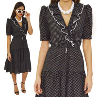 Vintage 80s Black & White Polka Dot Sheath Wrap Dress