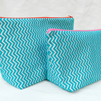 Dark Teal and Shiny Silver Chevron Medium Travel Makeup/Cosmetics Bag with Matching Large Toiletries Travel Set with Red & Pink Zipper