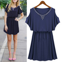 Beaded Cutout Shoulder Short-Sleeve A-Line Dress
