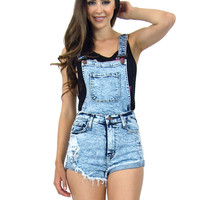 High Waist Acid Wash Detachable Dual Distressed Denim Jean Shorts Overalls 10895
