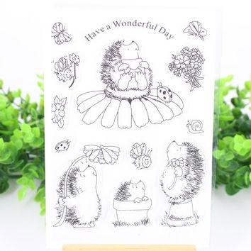 Hedgehog Bee Ladybug Transparent Clear Rubber Stamp for Seal DIY Scrapbooking Photo Album Decorative Clear Stamp Sheets F4735