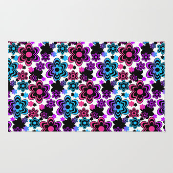 Rainbow Floral Abstract Rug by Decampstudios