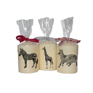 Candle/ pillar candle/ zebra/ giraffe/ fox