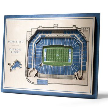 Detroit Lions Ford Field Stadium View 5-Layer 3D Wall Art