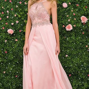 Blush long chiffon dress features embellished bodice and halter neckline.