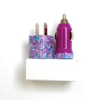 Daisy Paisley Purple iPhone Charger | Accessories includes portable USB charger & mobile car charger for iPhone 6 | 6s | iPhone 5 | 5s | 5c