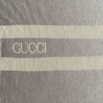 ONETOW GUCCI LOGO RARE BLANKET, THROW $1350 GREY 100%WOOL REVERSIBLE 78.0' X 54.0'