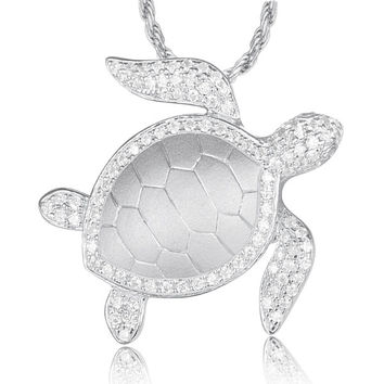 SOLID 925 STERLING SILVER HAWAIIAN SEA TURTLE HONU SLIDE PENDANT CZ RHODIUM