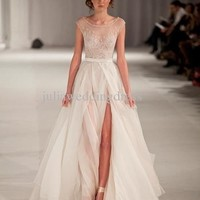2014 New Elie Saab Tulle Scoop Embroidery Long Strap Evening Celebrity Dresses