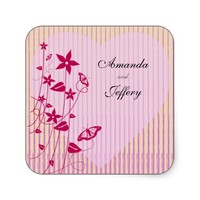Square Envelope Seal |Pink & Red Flower Butterfly Stickers