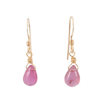 Pink Tourmaline Gemstone Briolette Drop Earrings in Gold Fill, #6537S