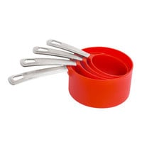 DESSERT Measuring cups, set of 4, red, stainless steel - IKEA