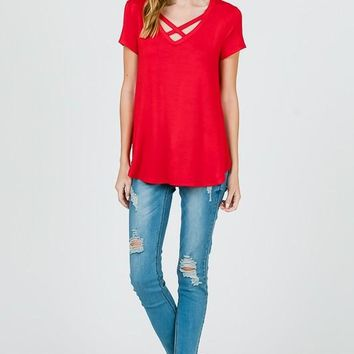 Short Sleeve Criss Cross Top in RED