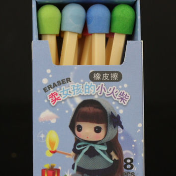 Eight Erasers in Blue Match Box
