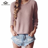 Bella Philosophy autumn winter new loose round neck long-sleeved pullover women sweater pink blue white black