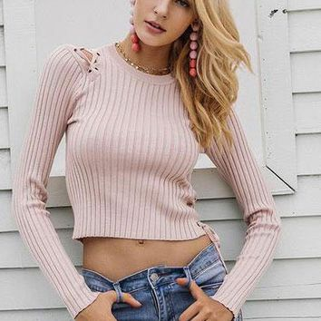 Laced Shoulder Cropped Sweater