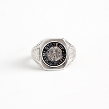 Vintage Sterling Silver State Of Massachusetts Ring - Art Deco 1930s Size 5 1/2 MA Great Seal Coat of Arms Black Enamel Signet Jewelry