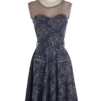 Effie's Heart Long Sleeveless A-line Blogging Molly Dress in Navy Floral