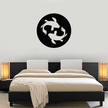 Vinyl Wall Decal Koi Cart Fish Asian Japanese Zen Home Decor Art Stickers Mural (ig5654)