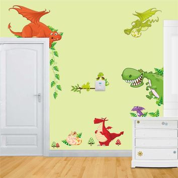 3D Dinosaurs Wall stickers jurassic park home decoration 1461. diy cartoon living room animals print decals mural art poster 4.0