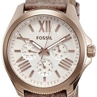 Fossil Women's AM4532 Cecile Multifunction Gold-Tone Stainless Steel Watch with Brown Band