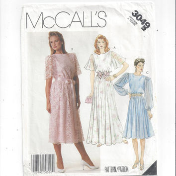 McCall's 3049 Pattern for Misses Dress or Evening Gown, Size 22, From 1987, FACTORY FOLDED, UNCUT, Bridal, Prom, Vintage Pattern, Home Sew
