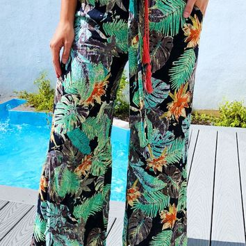 Palm Beach Pants: Green/Multi