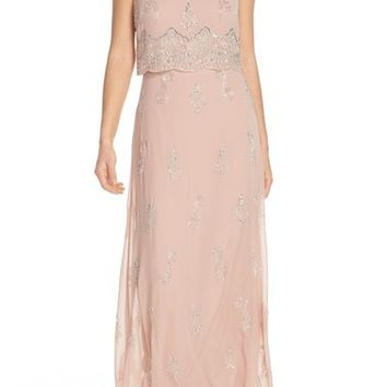 Adrianna Papell Beaded Popover Bodice Gown | Nordstrom