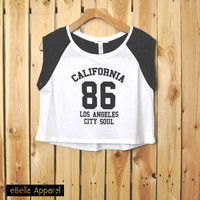California 86 - Women's Contrast Short Sleeve, Graphic Print Crop Top