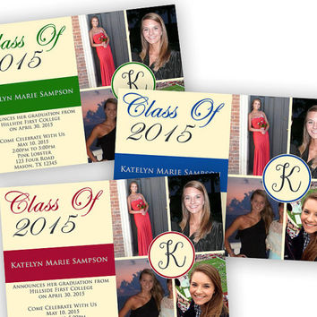 Graduation Announcement - Graduation Invitation - Custom School Colors - Graduation - Photo Graduation Announcement - College Graduation