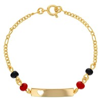 18k Gold Plated Evil Eye Protection Heart Tag Good Luck Girls Bracelet 6""