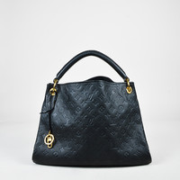 "Louis Vuitton Black Monogram Empreinte Leather ""Artsy MM"" Hobo Bag,leather bag stylish Soft Bohemia new arrivals"