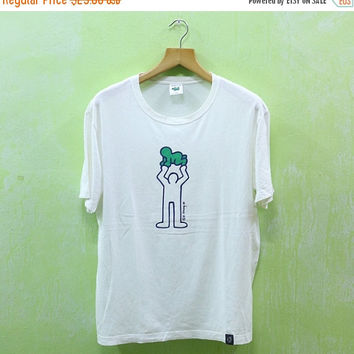 15% SALES Vintage Keith Haring Carrying Baby Family Pop Art Graffiti Street Andy Warhol Designer White Tee T shirt
